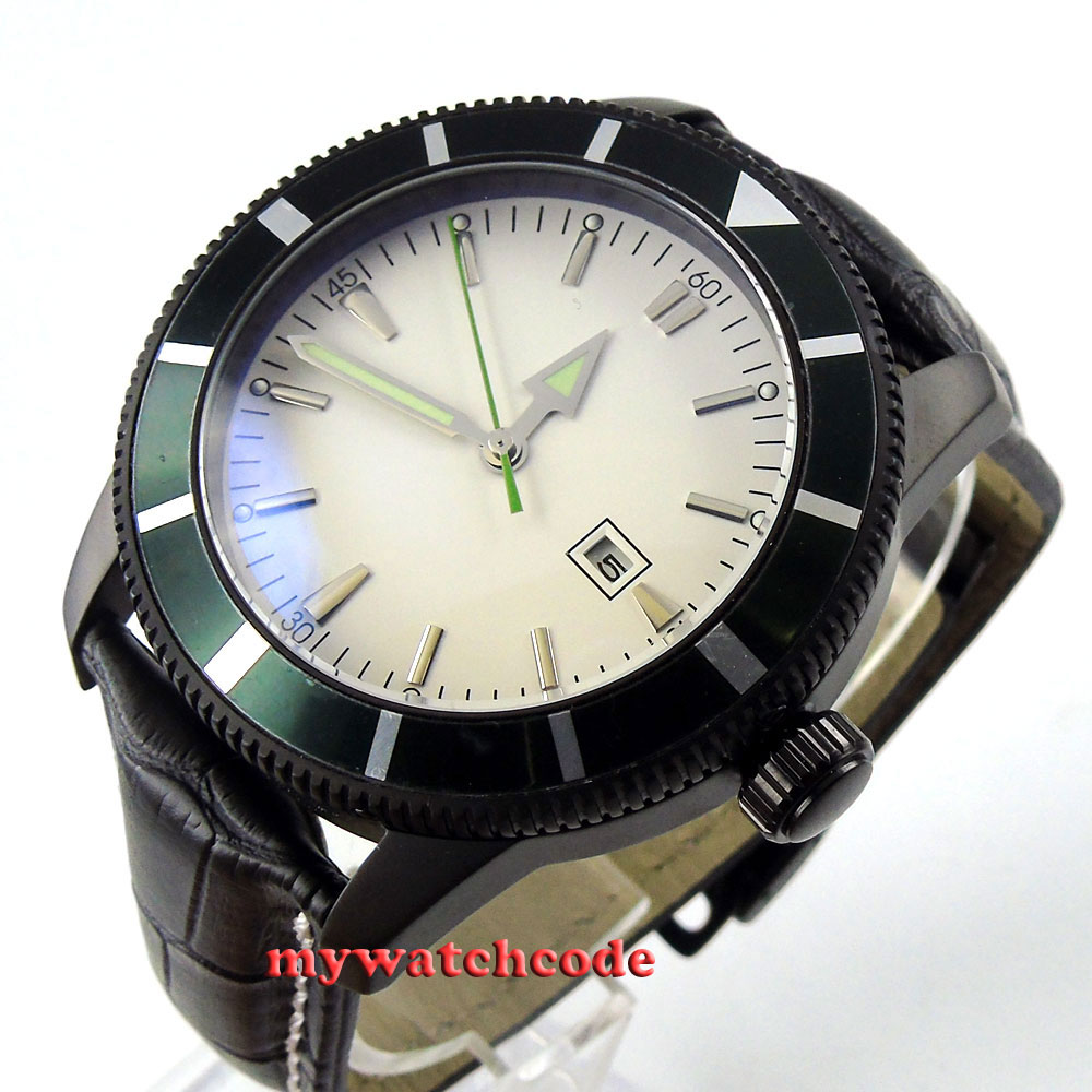 46mm white dial luminous marks PVD case automatic mens wrist watch P504 цена и фото