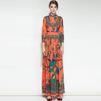 Floor Length 2018 Women Dresses Print Sexy Spring Long Winter Elegant Robe Prom Evening Party Club Womens Maxi Runway Boho Dress
