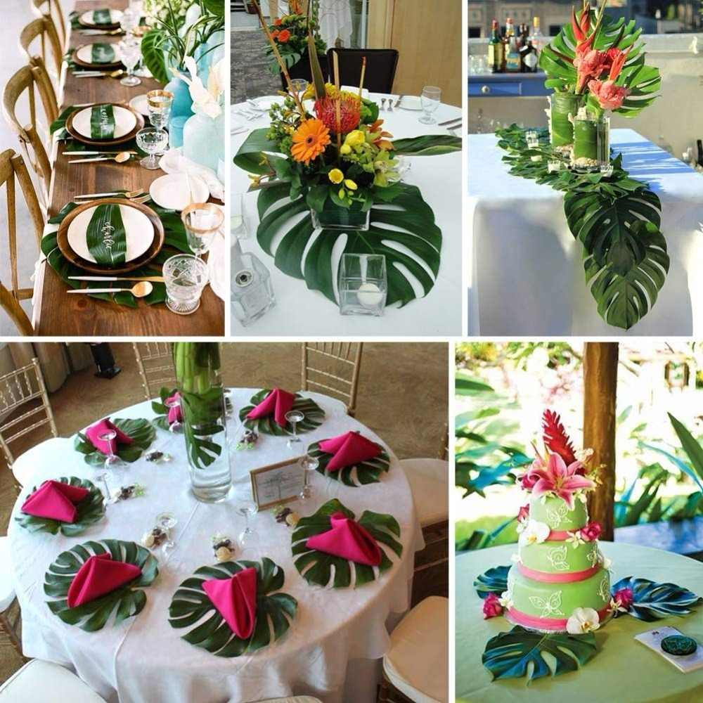 Green Large Artificial Tropical Palm Leaves Table Runner Hawaiian Luau Party Jungle Beach Theme Wedding Decorations Birthday