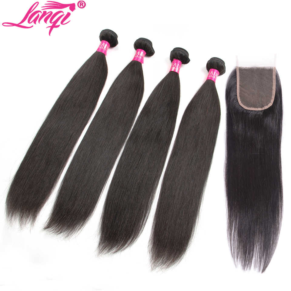 straight hair bundles with closure Brazilian hair weave bundles with closure lanqi 28 30 32 inch human hair bundles with closure