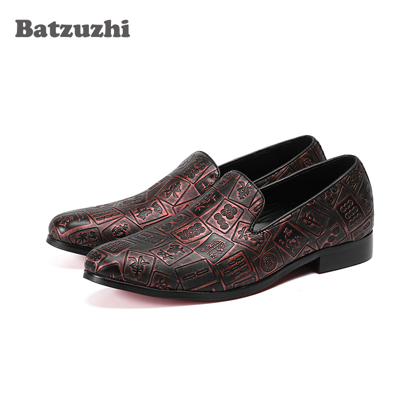 Batzuzhi Handmade Men Flats Shoes Genuine Leather Loafers Print with Chinese Men 's Casual Shoes Comfortable and Breathable stylish men s casual shoes with breathable and metal design