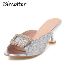 Bimolter Summer Bling Glitter Ladies Slippers Fashion Sandals For Women Glod Sliver Shiny Wedding Shoes Big Size 32-43 PSEA002