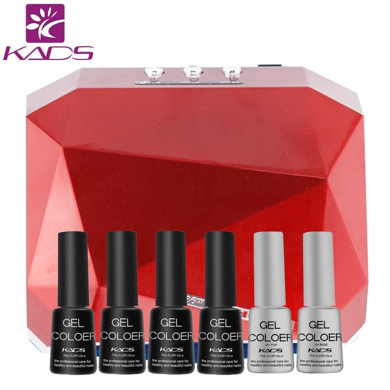 KADS 36W LED UV Lamp Nail Lamp Dryer & 4pcs gel polish + top & base coat set Diamond Shape Curing Nail Dryer UV Gel nail lamp