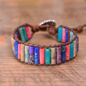 Boho Tube Shape Natural Stone Beaded Bracelet Unique Friendship Leather Bracelet Dropshipping Single Leather Wrap Bracelet
