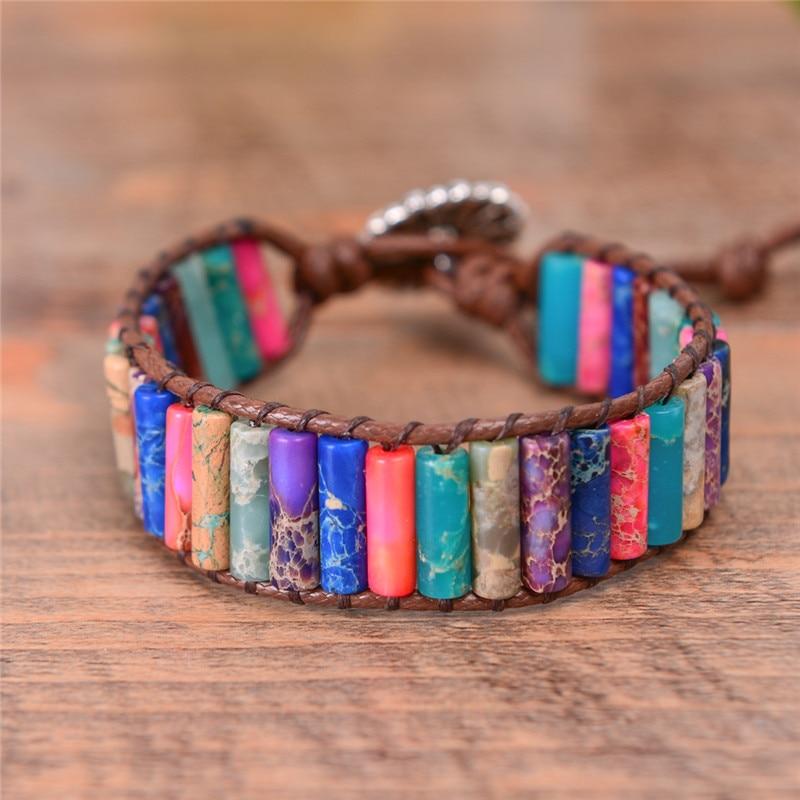 Boho Tube Shape Natural Stone Beaded Bracelet Unique Friendship Leather Bracelet Dropshipping Single Leather Wrap Bracelet