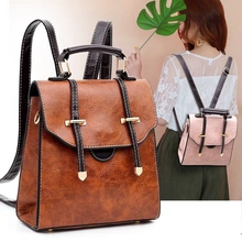 JUILE fashion womens backpack retro PU Leather college girl bag famous design high quality travel shoulder