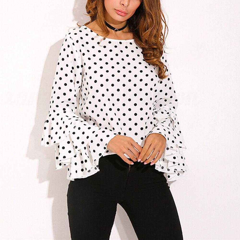 Blouses Et Mulheres Para E Décontractés Blusas Manches white Tops De Blouse Femmes Black T Bell Lâche Mode Polka Dot Shirt shirts UfTqawnw