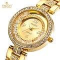 Mulheres de marca Relógios Kingsky Aço Luxo Ouro Cristal de Quartzo Relógios Para As Mulheres Da Moda Vestido Da Senhora Relógio de Pulso À Prova D' Água