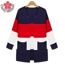 2015 XL-5XL Plus Size Knitted Cardigan Women Autumn Winter Long Sleeve Striped Outwear 4XL 3XL Pink Red Long Women Cardigans