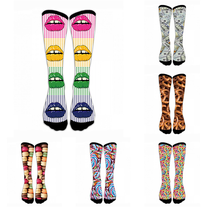 Harajuku Happy Women Socks Funny Mens Unisex Sock Women Animal Food Dollar 3D Printed Sock Cotton Funny Socks 5S-D14
