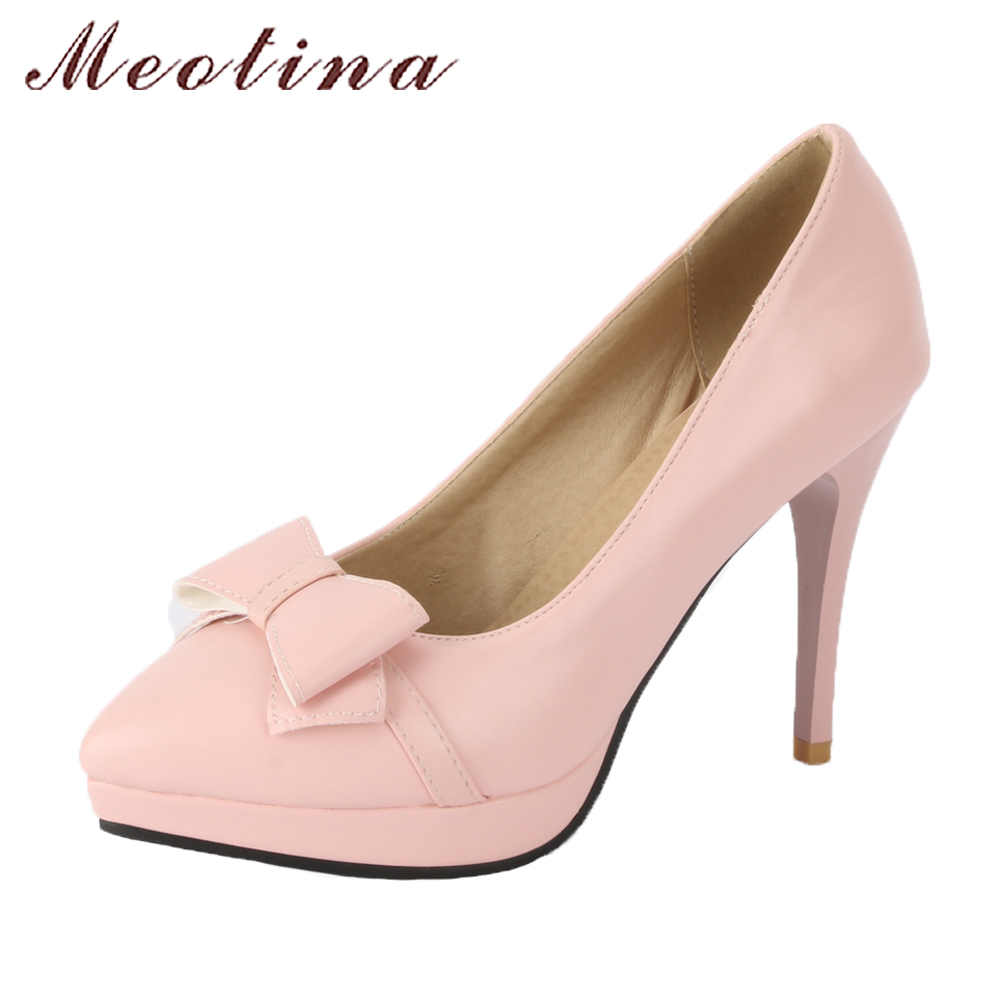 Meotina Shoes 2018 Women Platform High Heels Size 43 Wedding Bridals Shoes Pumps Bow-knot Pointed Toe Slip On Ladies Shoes Pink lady glitter high fashion designer brand bow soft flock plus size 43 leisure pointed toe flats square heels single shoes slip on
