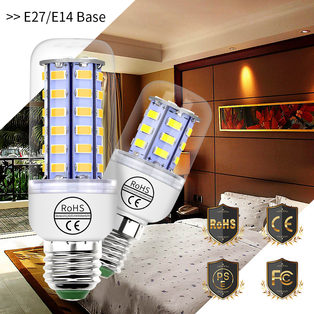 E27 Corn Bulb Led Lamp GU10 220V Light Bulb E14 Lampara 24 36 48 56 69 72Leds Chandelier Candle Light SMD 5730 Ampoule For Home