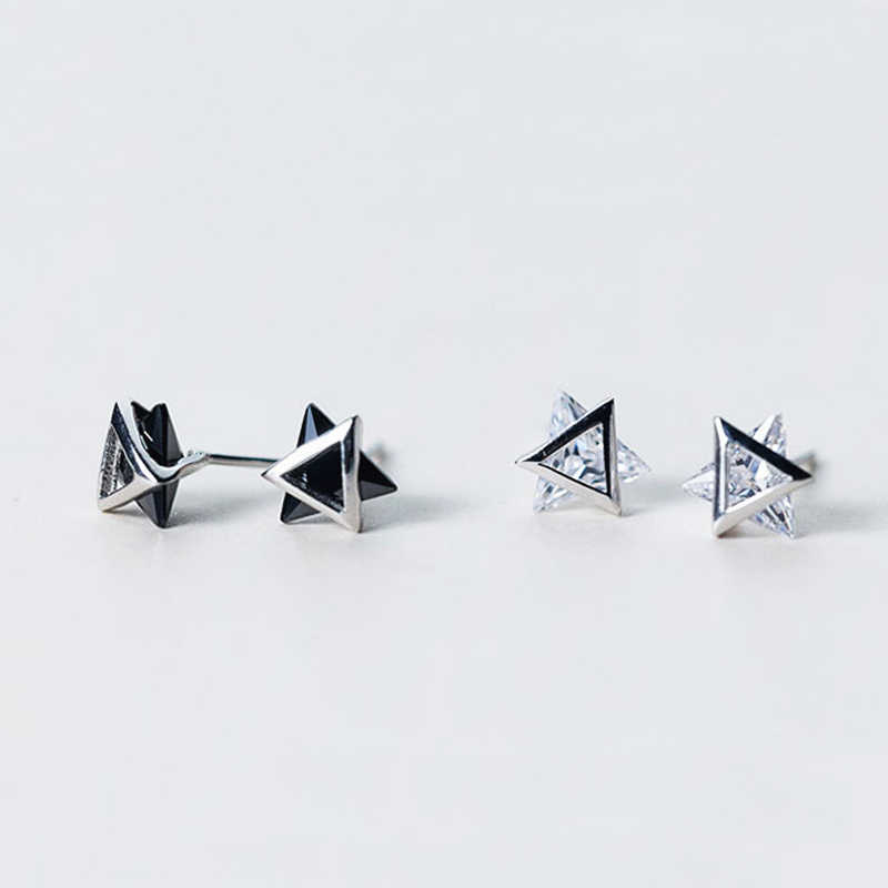 6926fedc4 ... TOYOOSKY 925 Sterling Silver 3D Solid Triangle Geometry Stud Earrings  for Women Men Black White Choices ...