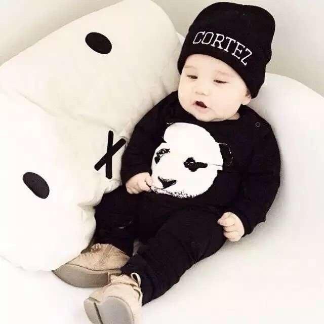 13c5dd8dbcf7 Cute baby rompers fashion cotton black long sleeve panda pattern ...