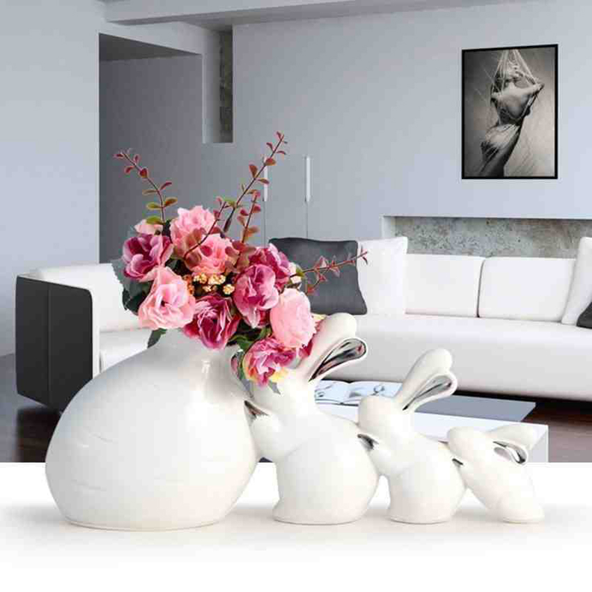1/set high quality Europe Ceramic Rabbit vase With flowers miniature Figurines tabletop Crafts Wedding Gifts home decor