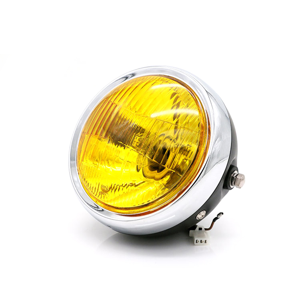 Retro Motorcycle Headlight Amber Light For Yamaha Suzuki Honda CG125 Cafe Racer Bobber Motocicleta Lamp Light