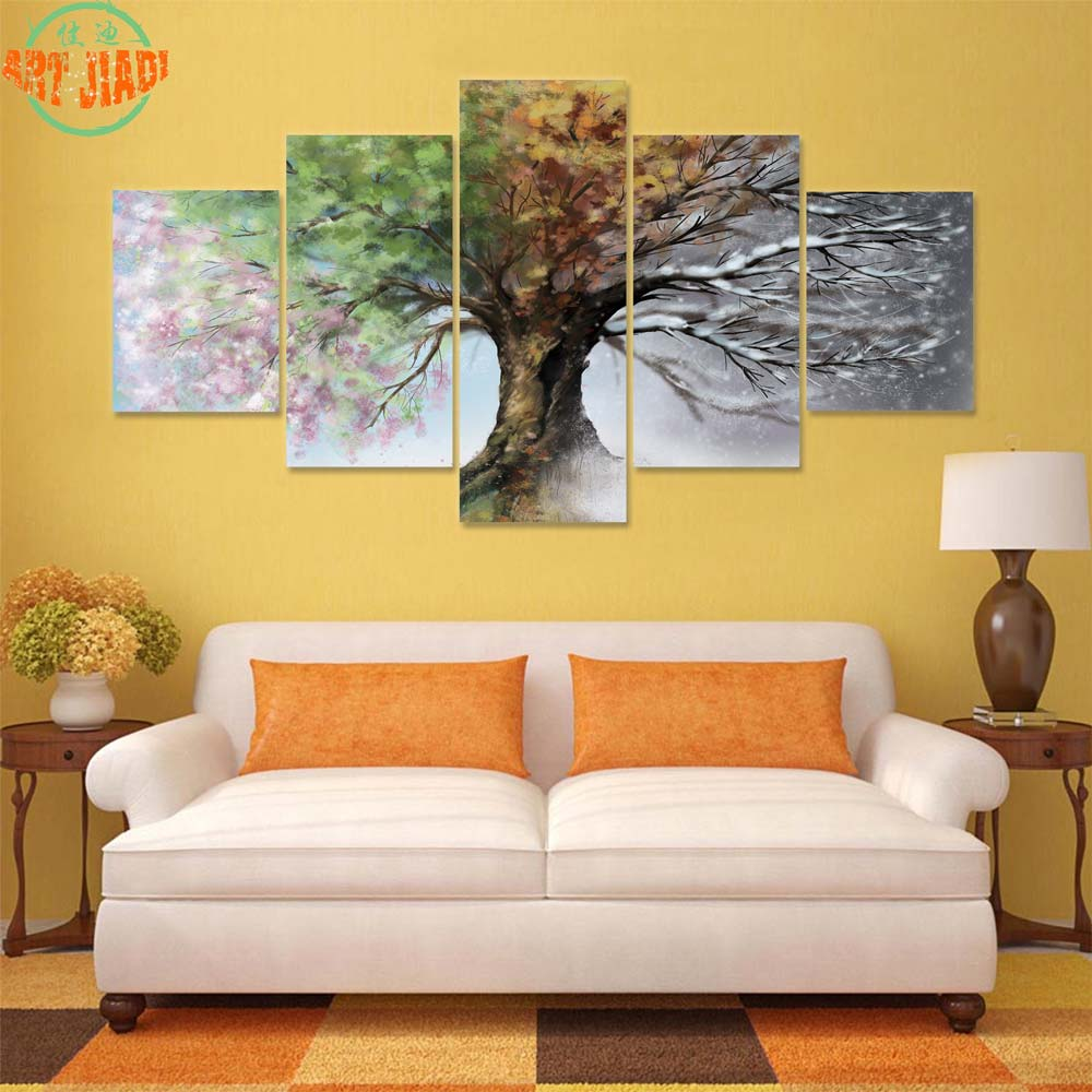 4 Piece/set or 5 Piece/set Canvas Art Four Season Tree HD Canvas ...
