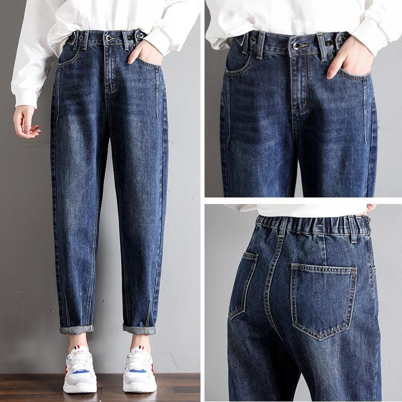 GCAROL New Women 93% Cotton Blends Pencil Denim Pants High Waisted High Street Boyfriend Style Jeans In 3 Colors Plus Size 26-32 11