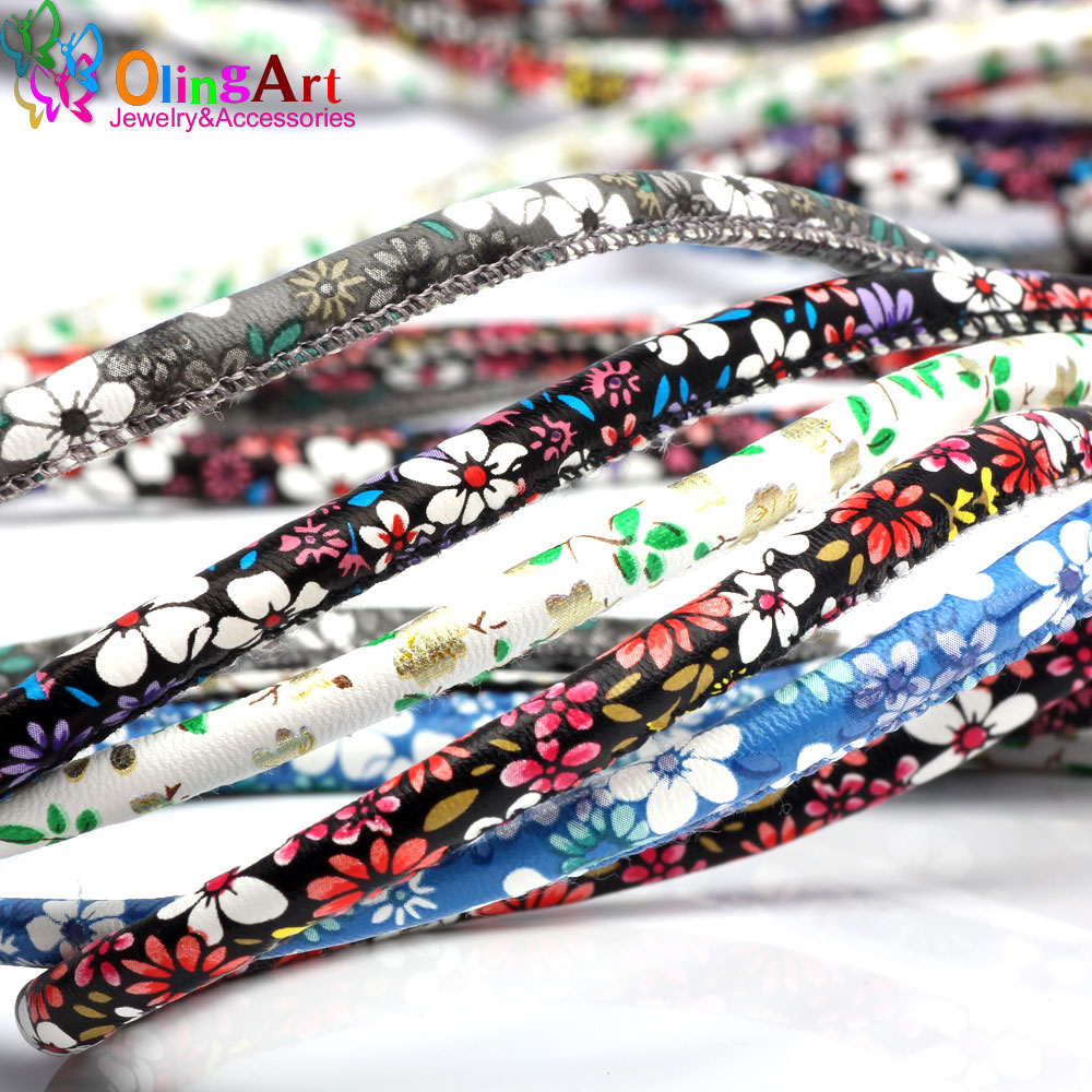 OlingArt 6mm 2m/lot PU Flower Round Leather Cord Rope For European Style DIY Necklace Bracelet Choker Craft Jewelry Making