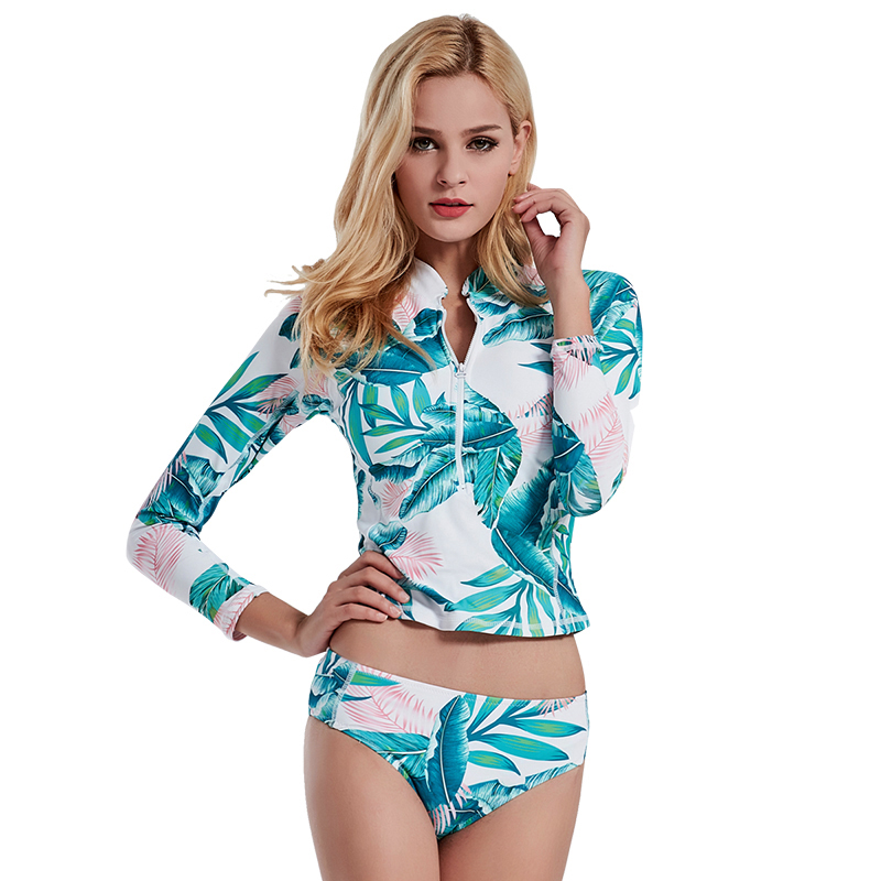2019 Sexy Printed Rashguard Two Piece Swimsuits For Women