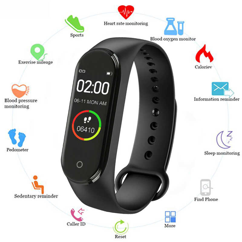 NEW M4 Smart Band Heart Rate Blood Pressure Monitor Sport Watch for Men Women Monitor Health Bracelet Waterproof Fitness Tracker