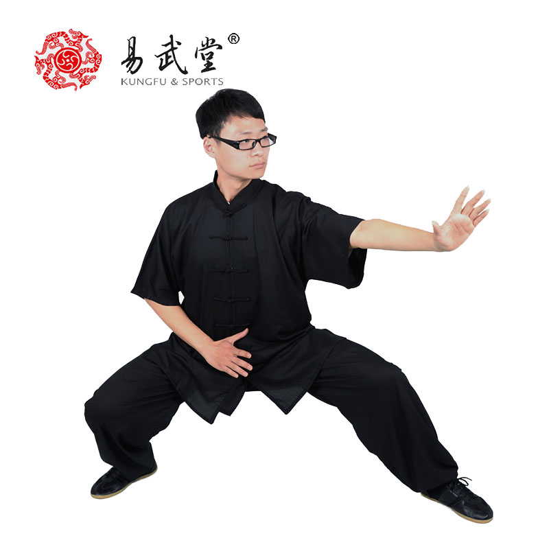 Yiwutang Unisex Short Sleeves Taichi Uniform Summer Kungfu Clothing Cotton  Martial Art Sets  Chinese Comfortable And Breathable