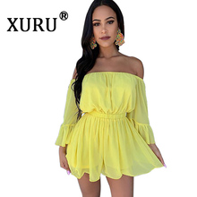 XURU new hot womens 2019 summer jumpsuit solid color word shoulder wrapped chest lotus leaf sleeves waist shorts