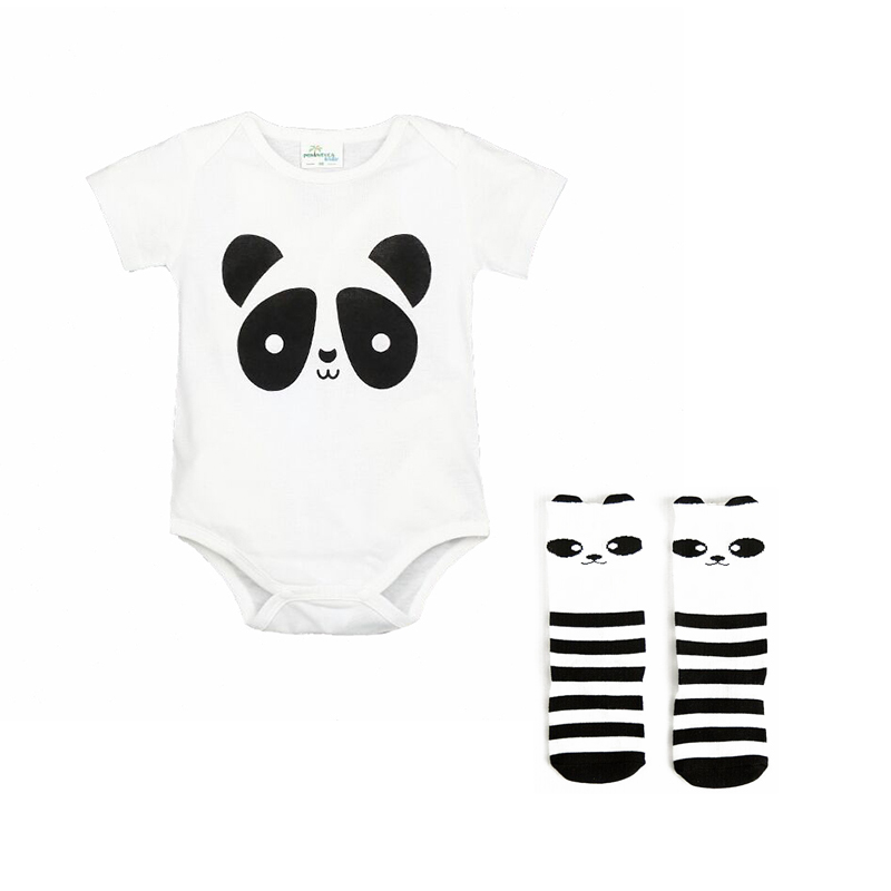 Toddler Baby Triangle Romper Jumpsuit Cotton Short Sleeve Cartoon Panda With Socks Newborn Baby Romper Clothes NB-18 Month cotton socks brief paragraph girl cartoon socks monoblock cartoon socks wholesale