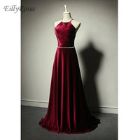 Burgundy Velvet Evening Dresses for Mother of the Bride Sexy Backless Criss cross Crystals Halter Floor Length Evening Gowns
