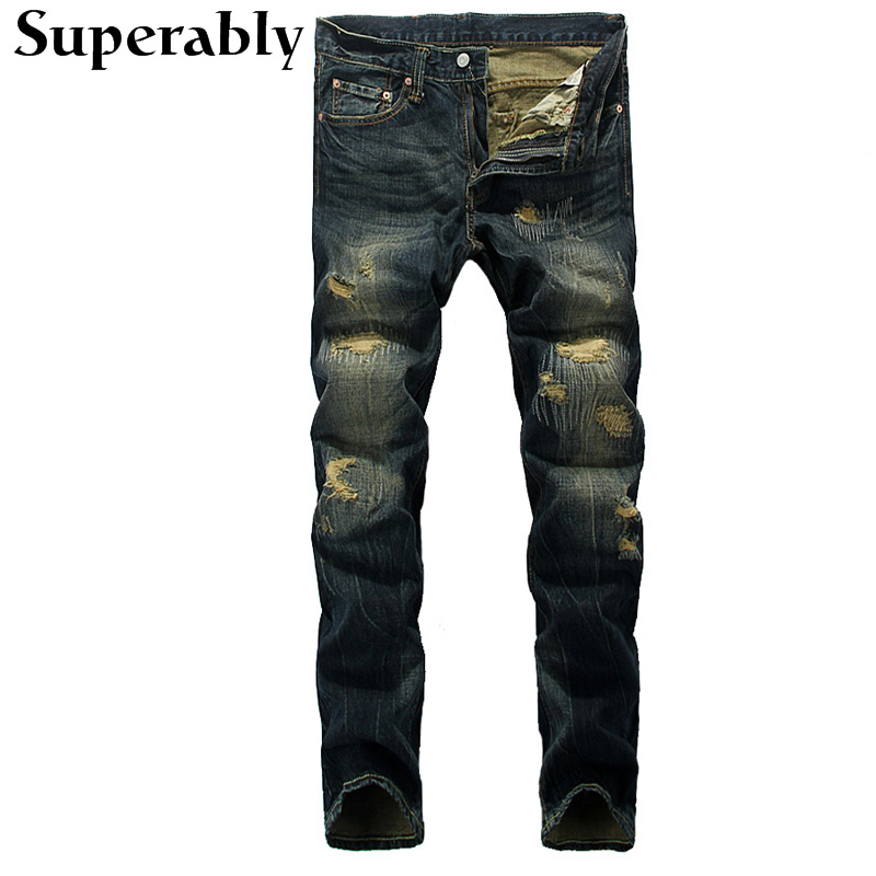ФОТО High Quality Mens Pants Destroyed Ripped Jeans Superably Brand Stripe Jeans Men Embroidery Designer Full Length Jeans Trousers