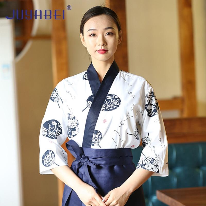 Japanese Print Short Sleeve Chef Uniform Japanese Restaurant Sushi Restaurant Restaurant Kitchen Waiter Workwear Tops Unisex