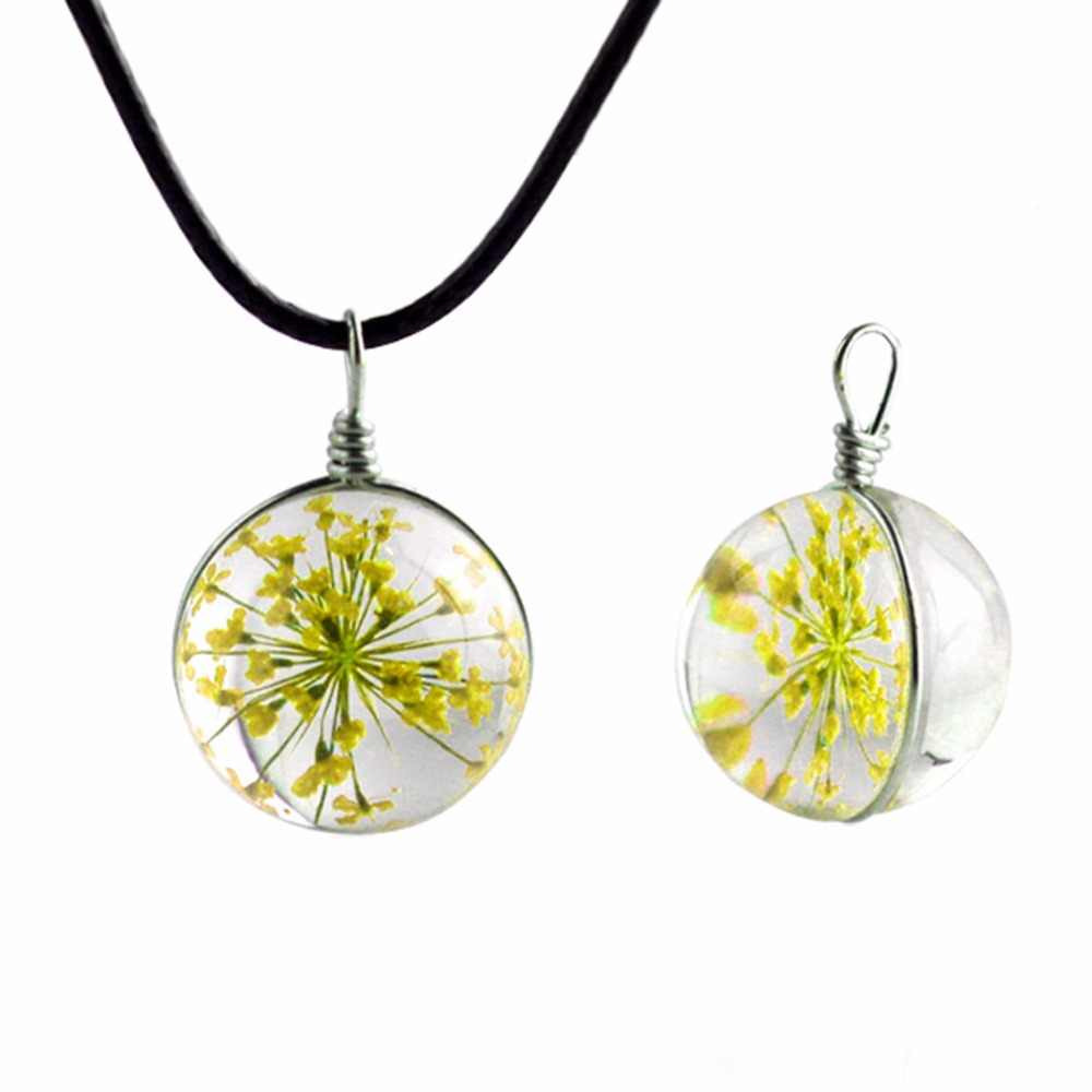 Mới Đến Thủ Công Glass Ball Clover Necklace Dài Vòng Cổ Dải Da Chain Pendant Dây Chuyền Girl Lucky Chúc Các Locket Jewelry