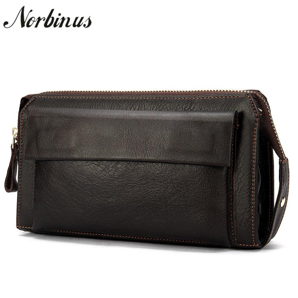 Norbinus Genuine Leather Men's Clutch Wallets Male Clutch Bags Leather Long Zipper Wristlets Men Credit Card Holder Coin Purses
