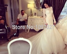 Top Quality Handmade Mermaid Long Sleeve Wedding Dress Sweep Train Lace And Tulle Korean Bridal Dress AS33