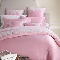 Luxury Silk Cotton Bedding Sets Cotton Tribute Silk Lace Edge Home Textiles 4 8pcs Quilt Cover Fillet Sheet 2Sleep Pillowcase