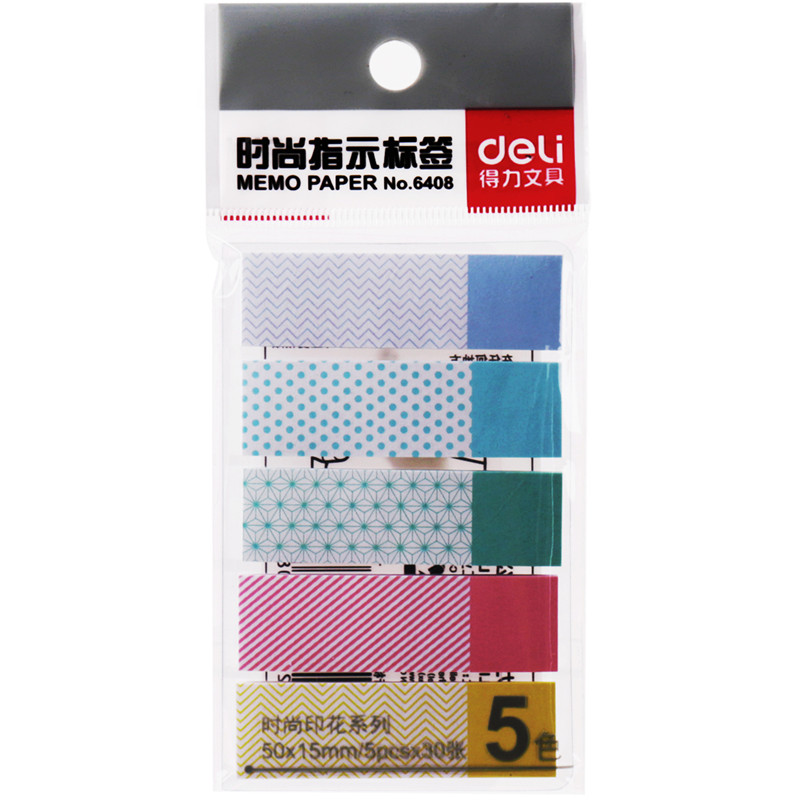 1 Pack 5 Pcs Memo Pads 5 Colors Each Pack Self-Adhesive Notebook Post It Kawaii Office Business Deli 6408