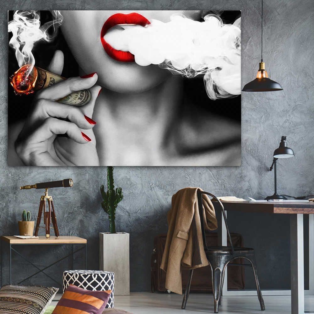 Modern Red Nails Woman Lady with Money Smoke Art Canvas Wall Oil Painting for Bar Decoration Frameless Toilet Pub Picture