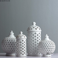 Hollow Circle Tube Storage Tank Jar White Ceramic Flower Vase Decoration Candle Holder Multi Function Room Accessories