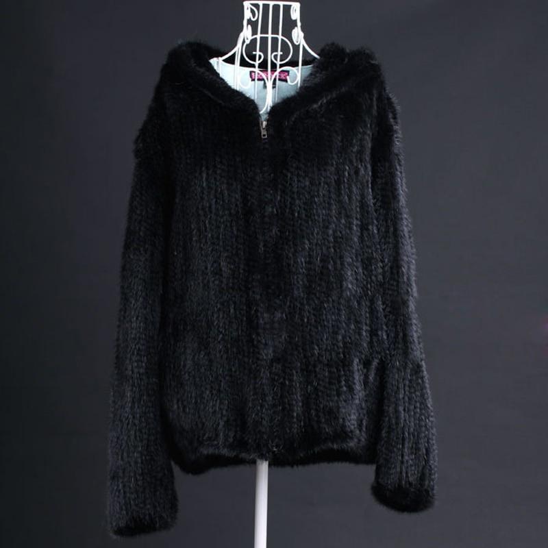 Taille Vison Manteau 6xl Capuche Véritable 5xl Avec Dames black Hiver Fourrure Femmes Vk3016 Grande Manteaux Tricoté Brown De YqXOxPU