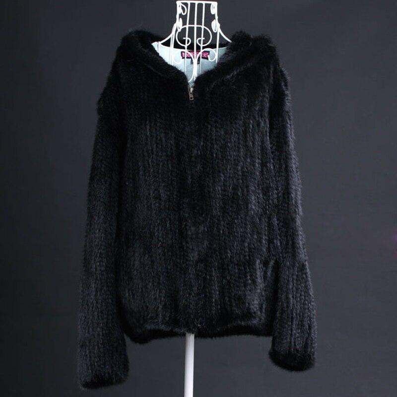 Inverno Delle Signore Genuine Real Maglia Visone Cappotto con Collo Hoody della Pelliccia Delle Donne Capispalla Cappotti Taglia 5XL 6XL Plus Size VK3016