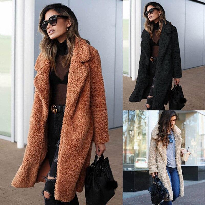 Long Coat Pocket Temperament Warm Winter Fashion Women's Autumn Hot Thick And S-3XL Lapel