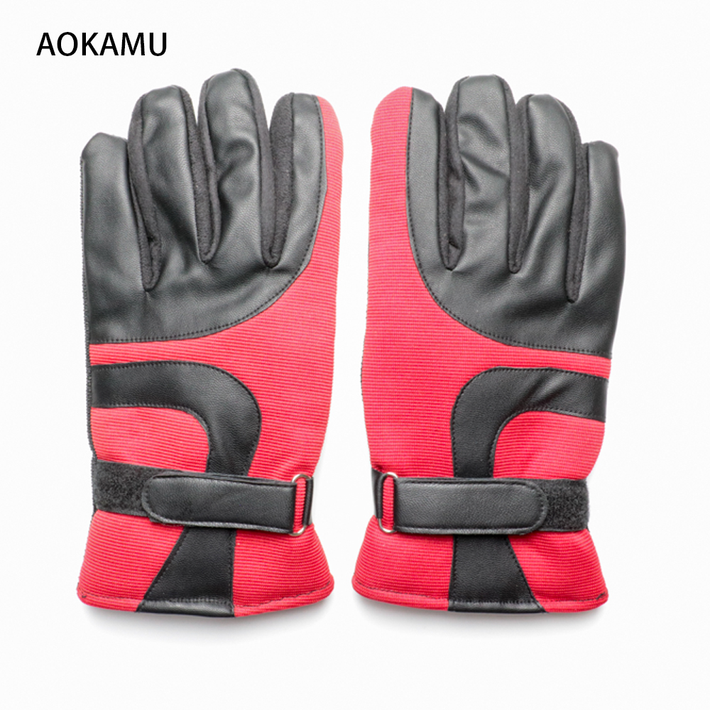 AOKAMU New Men Climbing Gloves Brand Designer Winter Thicker Windproof skiing Glove Fashion Warm PU Leather Plush Gloves for Men