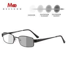 MEESHOW Photochromic קוצר ראייה אופטית משקפיים קריאת משקפיים כיכר מתכת מסגרת באיכות גבוהה רטרו גברים אנטי כחול אור מחשב