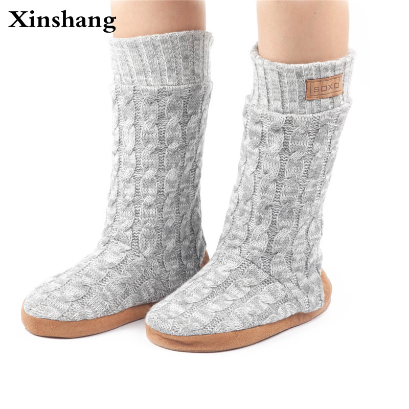 Xinshang Adult Button Warm Soft Knitting Wool Floor Slippers Non-Slip Plush Home Shoes Woman Slippers Household Indoor Shoes