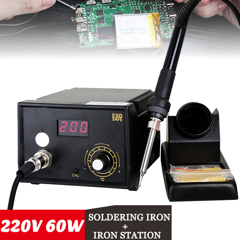60W 220V 2 in 1 Electric Soldering Iron Rework Station Digital Adjustable Constant temperature Welding Solder SMD Tool for Tips quick 969a 220v constant temperature 60w electronic soldering iron smd rework station