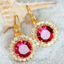 Women's wedding The bride married female crystal earrings earrings ear clip Japan Korea fashion jewelry bead core temperament