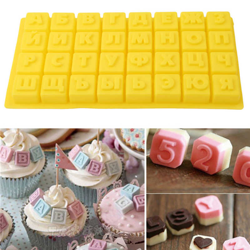 Silicone Baking 3D Alphabet of Russian Chocolate Mold Letters Cake Decoration Tools for Kitchen DIY Cookie Candy Soap Jelly
