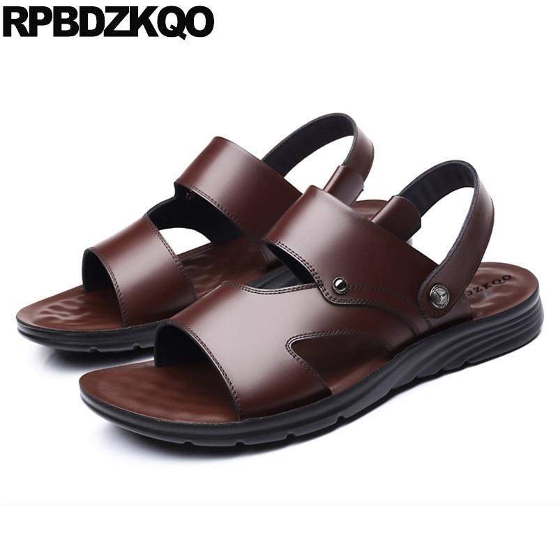 Baskets noir glissières d'eau natif mode imperméable pantoufles doux marron sangle extérieure 2019 hommes sandales en cuir chaussures d'été