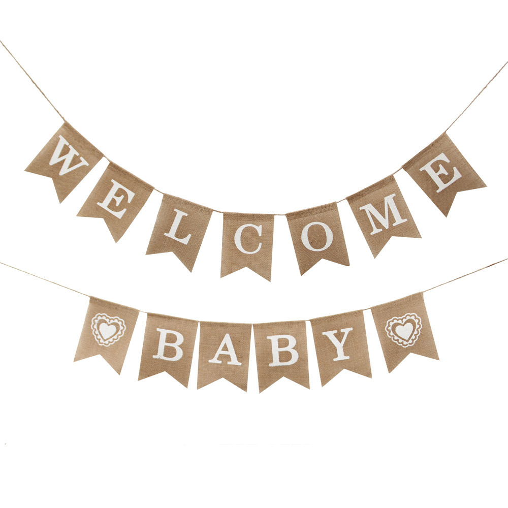 Welcome Baby Banner Vintage Burlap Linen Flags Decorative For Shower 1 Set Shirt