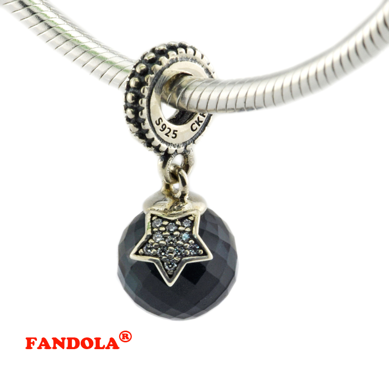 cdb1061d0 ... Fits Pandora Bracelets Moon Star Dangle Beads with Blue Clear Crystal Authentic  925 Sterling Silver Charms .